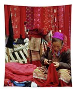 Flower Hmong Fabric Stall Tapestry