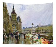 Flower Sellers By The Seine Tapestry