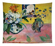 Flowers And A Japanese Print Tapestry