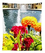 Flowers At Creekside Tapestry by Robert Knight