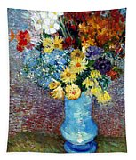 Flowers In A Blue Vase  Tapestry