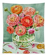Flowers In The Glass Vase Tapestry