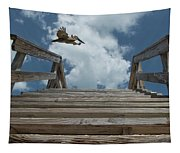 Fly By At The Beach - Brown Pelican And Rustic Stairs Tapestry