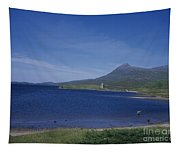 Fly Fishing  By Ardvreck Castle Loch Assynt Scotland Tapestry