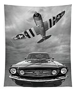 Fly Past - 1966 Mustang With P47 Thunderbolt In Black And White Tapestry