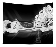 Flying Horse Black And White Tapestry