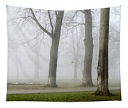 Fog Amongst The Trees Tapestry