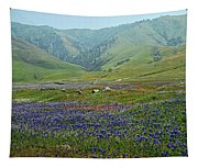 Fog And Wildflowers At Bear Mountain Tapestry