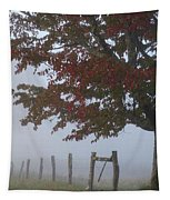 Foggy Autumn Morning In Cades Cove Tapestry