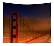 Foggy Golden Gate At Sunset Tapestry