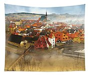 Foggy Small Town Tapestry