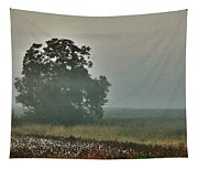 Foggy Tree In The Field Tapestry
