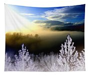 Foggy Winter Sunset Tapestry