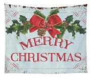 Folk Merry Christmas Tapestry