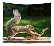 Food Fight Squirrel And Chipmunk Tapestry