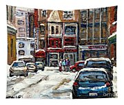 For Sale Original Paintings Montreal Petits Formats A Vendre Downtown Montreal Rue Stanley Cspandau  Tapestry