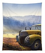 Ford In The Fog Tapestry by Debra and Dave Vanderlaan