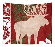 Forest Holiday Christmas Moose Tapestry