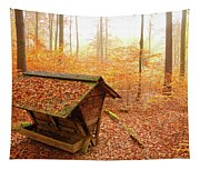 Forest In Autumn With Feed Rack Tapestry