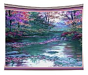 Forest River Scene. L B With Alt. Decorative Ornate Printed Frame. No. 1 Tapestry