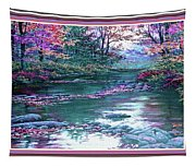 Forest River Scene. L B With Decorative Ornate Printed Frame. Tapestry