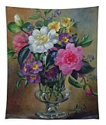 Forget Me Nots And Primulas In Glass Vase Tapestry