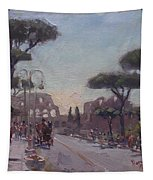 Fori Romani - Street To Colosseo Tapestry