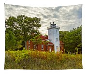 Forty Mile Point Lighthouse Lake Huron Lower Peninsilat Mi  Tapestry