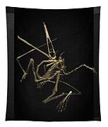 Fossil Record - Gold Pterodactyl Fossil On Black Canvas #1 Tapestry