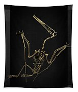 Fossil Record - Gold Pterodactyl Fossil On Black Canvas #4 Tapestry