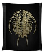 Fossil Record - Golden Trilobite On Black No.2 Tapestry
