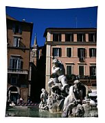 Fountain Depicting Neptune The Piazza Navona The Spire Of The Church Of Santa Maria Della Pace Rome Tapestry