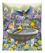 Fountain Festivities - Birds And Birdbath Painting Tapestry