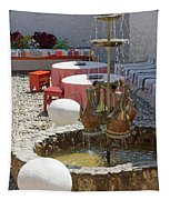 Fountain In Courtyard Tapestry
