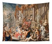 Fountain Scene In Front Of A Palace Tapestry