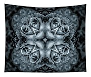 Noir Four Roses Symmetrical Focus Tapestry