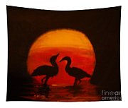 Fowl Love Silhouette Tapestry