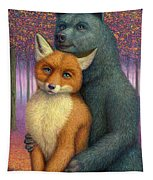 Fox And Bear Couple Tapestry
