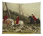 Fox Hunting Going Into Cover Tapestry