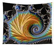 Fractal Art - Blue And Gold Tapestry