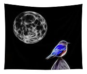 Fractal Moon And Bluebird Tapestry