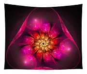 Fractal Triangle Pink Red Yellow Tapestry