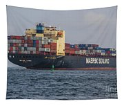 Freighter Headed Out To Sea Tapestry