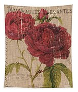 French Burlap Floral 3 Tapestry by Debbie DeWitt