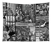 French Quarter Musicians Collage Bw Tapestry