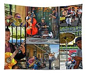 French Quarter Musicians Collage Tapestry