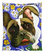 Frenchie Plays With Frogs Tapestry