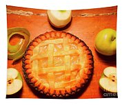 Freshly Baked Pie Surrounded By Apples On Table Tapestry