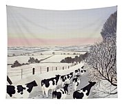 Friesians In Winter Tapestry