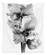 Frilly Edged Cyclamen Flowers Monochrome Tapestry